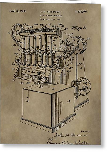Machinery Mixed Media Greeting Cards - Metal Working Machine Patent Greeting Card by Dan Sproul