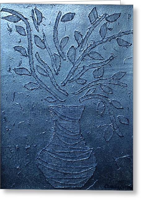 Water Vessels Mixed Media Greeting Cards - Metallic Blue Vessel Greeting Card by Cleaster Cotton