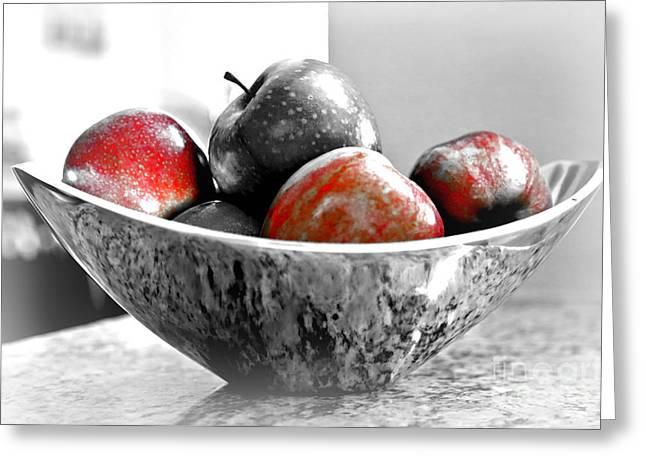 Carol Groenen Greeting Cards - Metallic Fruit Bowl - Still Life Greeting Card by Carol Groenen