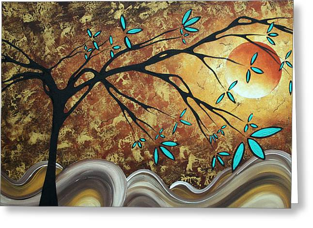 Wall Decor Licensing Greeting Cards - Metallic Gold Textured Original Abstract Landscape Painting APRICOT MOON by MADART Greeting Card by Megan Duncanson