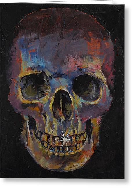 Metal Paintings Greeting Cards - Skull Greeting Card by Michael Creese