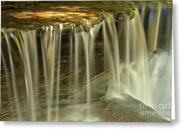 Ledge Photographs Greeting Cards - Metallic Streams At Stony Brook Greeting Card by Adam Jewell