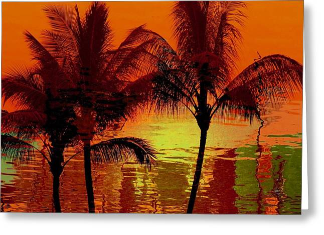 Ocean Art Photography Greeting Cards - Metallic sunset Greeting Card by Athala Carole Bruckner