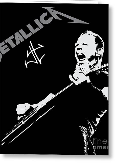 Rock N Roll Greeting Cards - Metallica Greeting Card by Caio Caldas