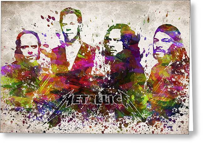 Band Digital Art Greeting Cards - Metallica in Color Greeting Card by Aged Pixel