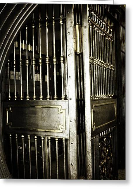 Wine Vault Greeting Cards - Metals Bank Vault Greeting Card by Image Takers Photography LLC - Laura Morgan