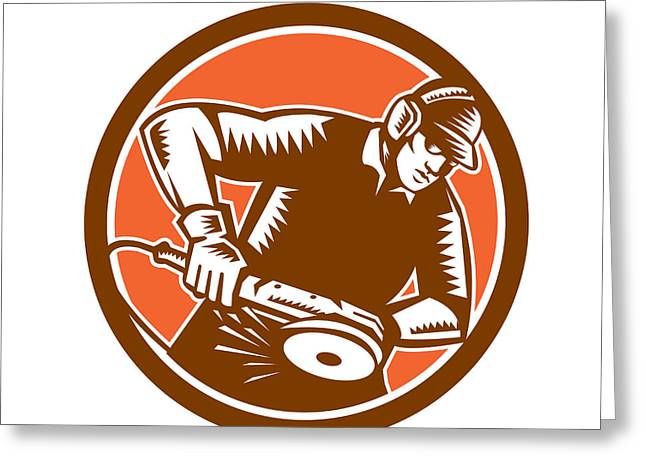 Metal Worker Greeting Cards - Metalworker Operating Grinder Woodcut Circle Retro Greeting Card by Aloysius Patrimonio