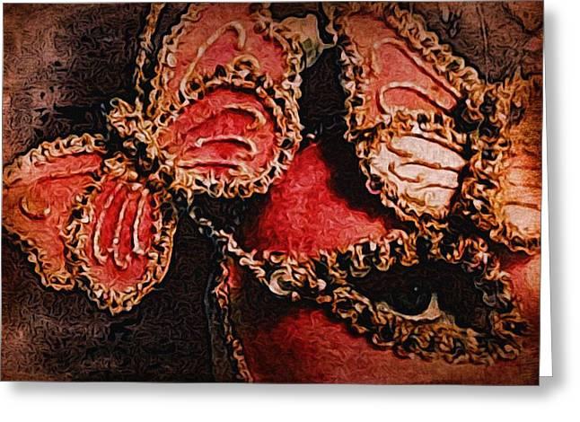 Dark Pink Carnival Art Greeting Cards - Metamorphos Greeting Card by Susan Maxwell Schmidt