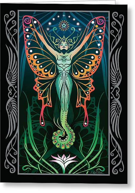 Sacred Digital Art Greeting Cards - Metamorphosis v.2 Greeting Card by Cristina McAllister