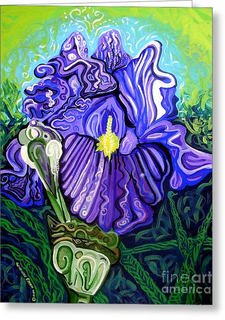 Recently Sold -  - Nature Abstract Greeting Cards - Metaphysical Iris Greeting Card by Genevieve Esson