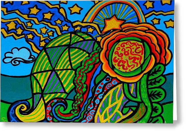 Plant Stretched Canvas Greeting Cards - Metaphysical Starpalooza Greeting Card by Genevieve Esson