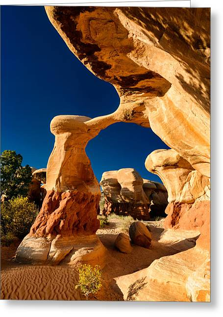 Best Sellers -  - Holes In Sandstone Greeting Cards - Metate Arch Greeting Card by Michael Blanchette