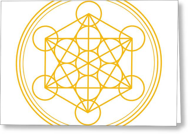 Inauguration Digital Greeting Cards - Metatron Cube Gold Greeting Card by Peter Hermes Furian