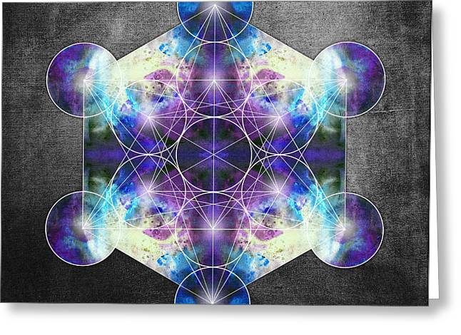 Metatron's Cube Blue Greeting Card by Filippo B