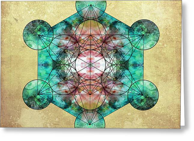 Sacred Digital Art Greeting Cards - Metatrons Cube Greeting Card by Filippo B