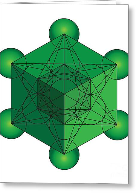 Platonic Greeting Cards - Metatrons Cube in Green Greeting Card by Steven Dunn