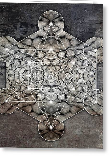 Sacred Digital Greeting Cards - Metatrons Cube rocky Greeting Card by Filippo B