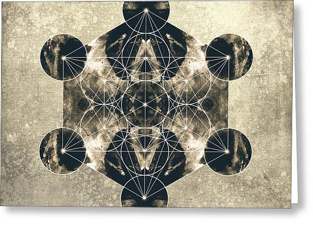 Flower Of Life Greeting Cards - Metatrons Cube Silver Greeting Card by Filippo B