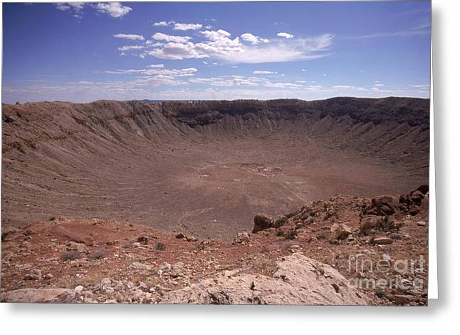 Meteors Greeting Cards - Meteor Crater, Arizona Greeting Card by Mark Newman