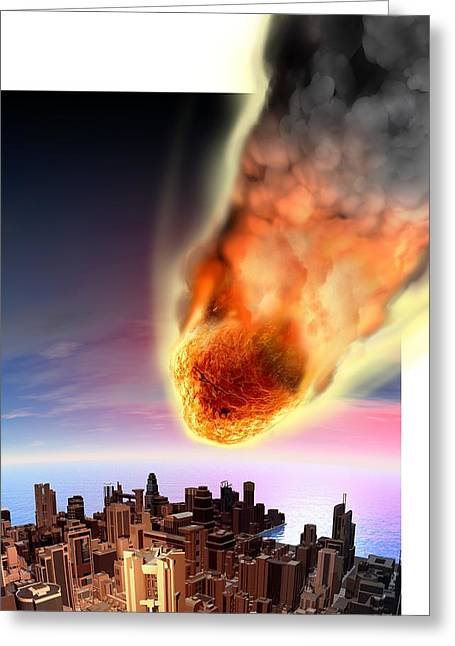 Meteor Greeting Cards - Meteor fireball over city, artwork Greeting Card by Science Photo Library