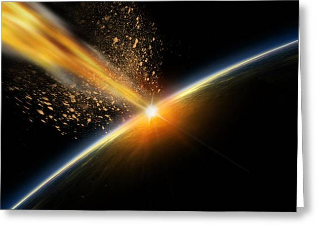 Asteroid Greeting Cards - Meteor Hitting Earth Greeting Card by Panoramic Images
