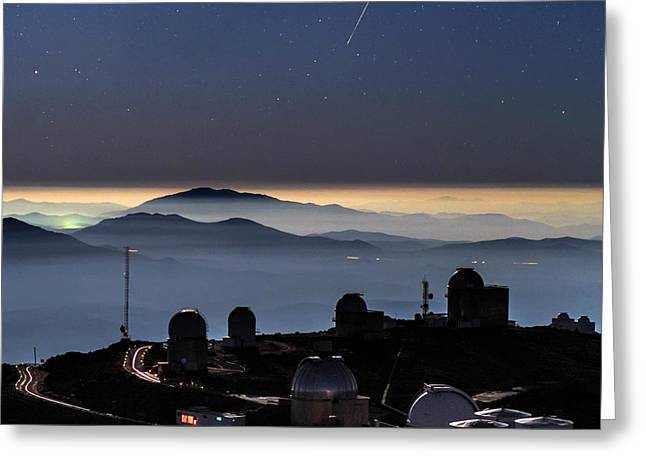 Meteor Over La Silla Observatory Greeting Card by Babak Tafreshi