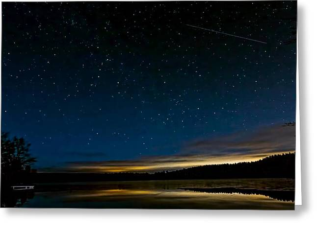 Perseid Meteor Shower Greeting Cards - Meteor over Lake Potanipo Greeting Card by Larry  Richardson