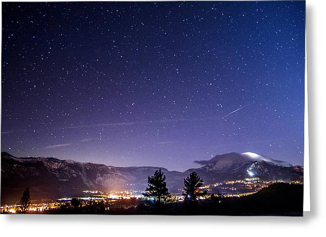 Meteor Greeting Cards - Mammoth Mountain at Night Greeting Card by Cat Connor