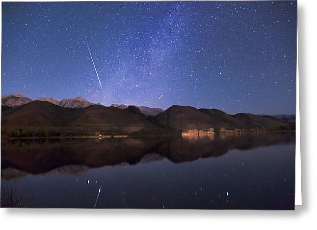 Meteor Greeting Cards - Meteor over Sierra Nevada Greeting Card by Cat Connor