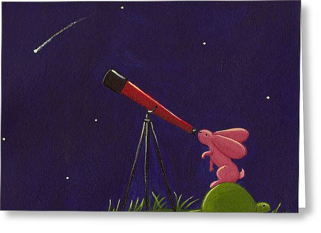 Kids Room Drawings Greeting Cards - Meteor Shower Greeting Card by Christy Beckwith