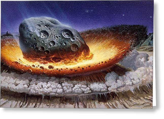 Meteorite Greeting Cards - Meteorite Colliding With The Earth Greeting Card by Publiphoto