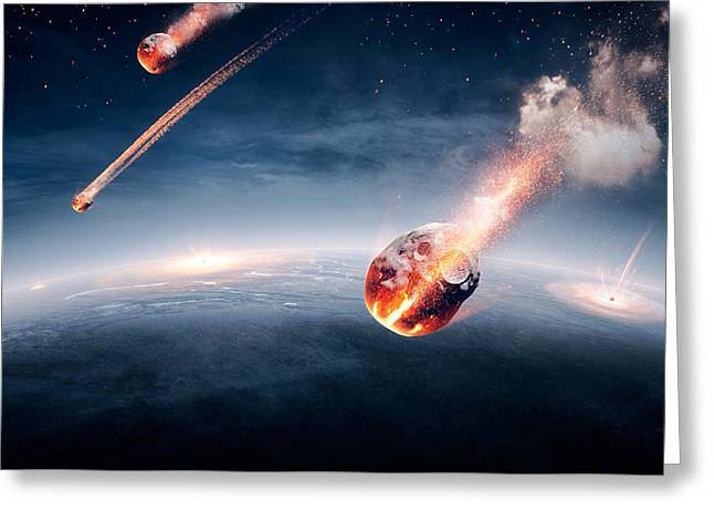 Destruction Greeting Cards - Meteorites on their way to earth Greeting Card by Johan Swanepoel