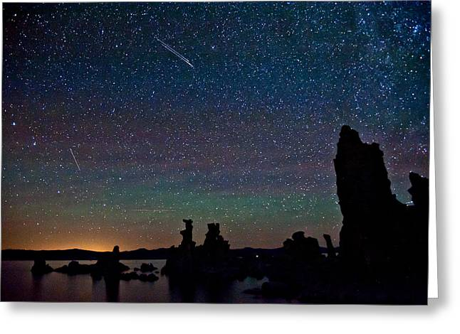 Meteors Over Mono Lake Greeting Card by Cat Connor