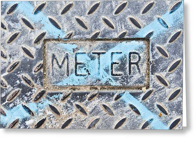 Metallic Sheets Greeting Cards - Meter cover Greeting Card by Tom Gowanlock