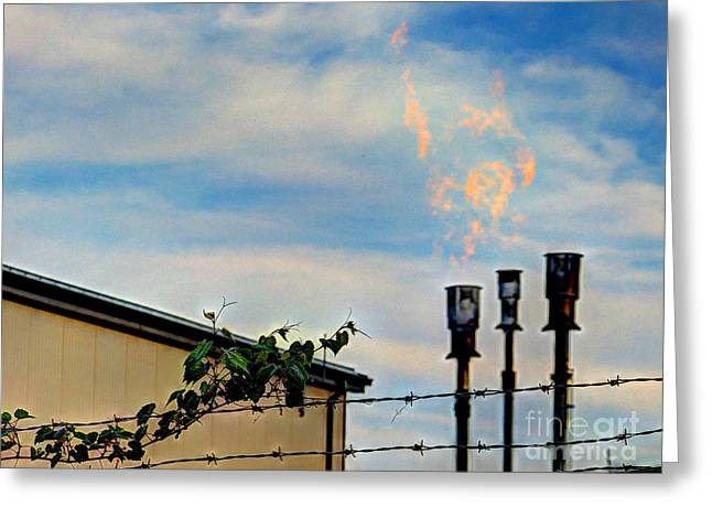 Mj Greeting Cards - Methane Flares Greeting Card by MJ Olsen