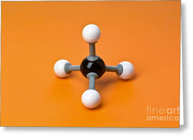 Organic Compound Greeting Cards - Methane, Molecular Model Greeting Card by Martyn F. Chillmaid