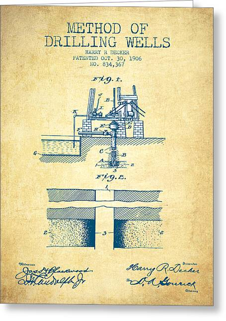 Bedroom Art Greeting Cards - Method of drilling wells Patent from 1906 - Vintage Paper Greeting Card by Aged Pixel