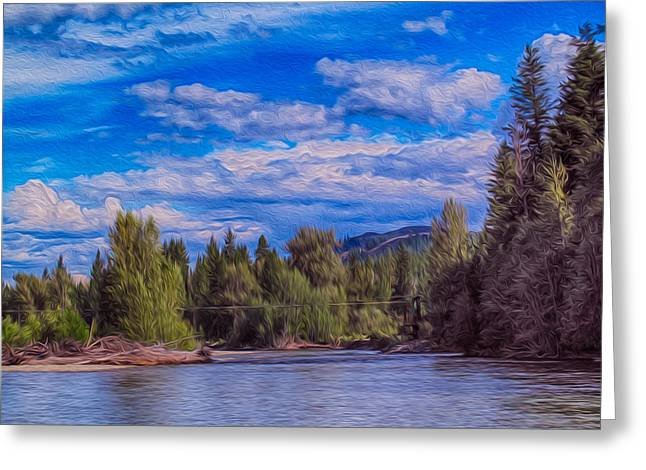 Methow River Crossing Greeting Card by Omaste Witkowski