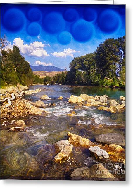Methow Greeting Cards - Methow River Meeting Winthrop Landscape Abstract Painting Greeting Card by Omaste Witkowski
