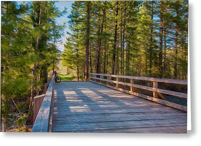 Methow Valley Community Trail at Wolf Creek Bridge Greeting Card by Omaste Witkowski