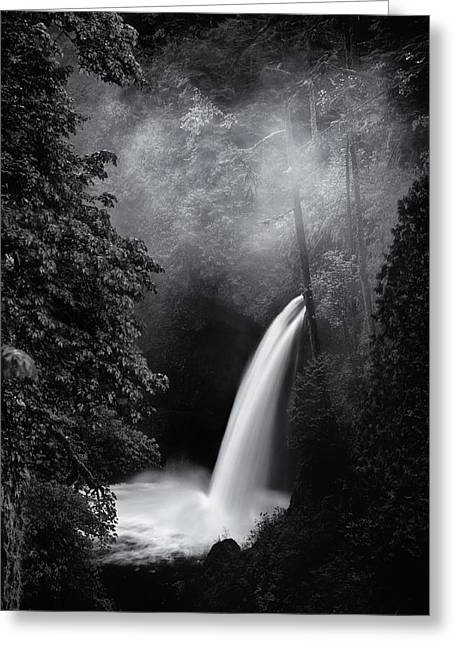 Black And White Waterfall Greeting Cards - Metlako Falls Dark Greeting Card by Darren  White