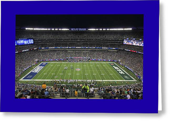 Endzone Greeting Cards - MetLife Stadium 2 Greeting Card by Allen Beatty