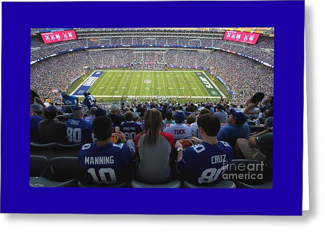 Endzone Greeting Cards - MetLife Stadium Manning and Cruz Greeting Card by Allen Beatty