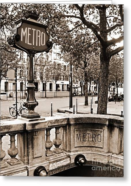 Metro Franklin Roosevelt - Paris - Vintage Sign And Streets Greeting Card by Carlos Alkmin