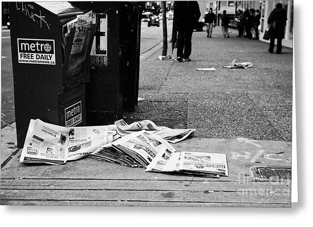 Throw Down Greeting Cards - metro free newspapers thrown discarded on the sidewalk Vancouver BC Canada Greeting Card by Joe Fox