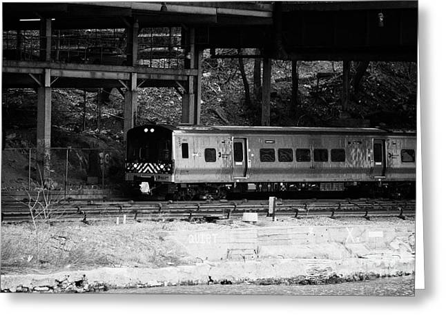 Manhatan Greeting Cards - Metro North Railroad Train Approaches Spuyten Duyvil Statin Under Bridge New York Greeting Card by Joe Fox