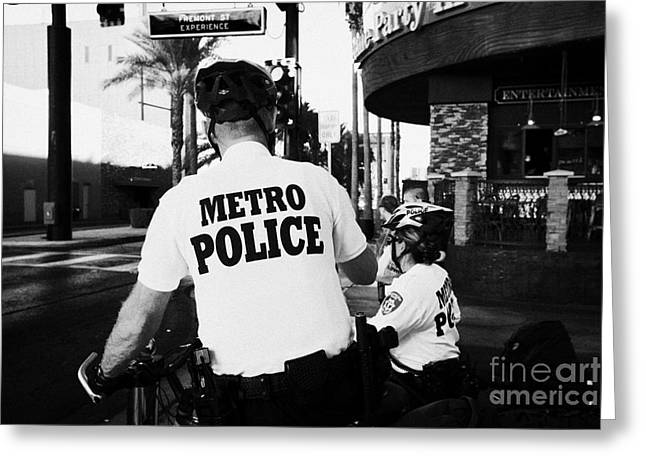 Police Officer Greeting Cards - metro police bicycle cops in downtown Las Vegas Nevada USA Greeting Card by Joe Fox
