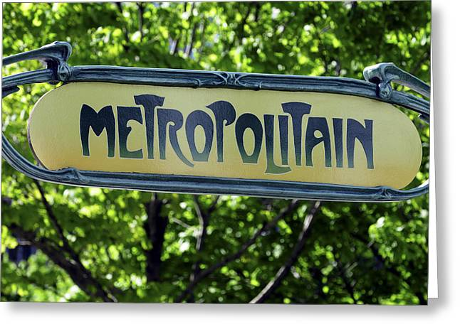 Norman Pogson Greeting Cards - Metro Sign Greeting Card by Norman Pogson