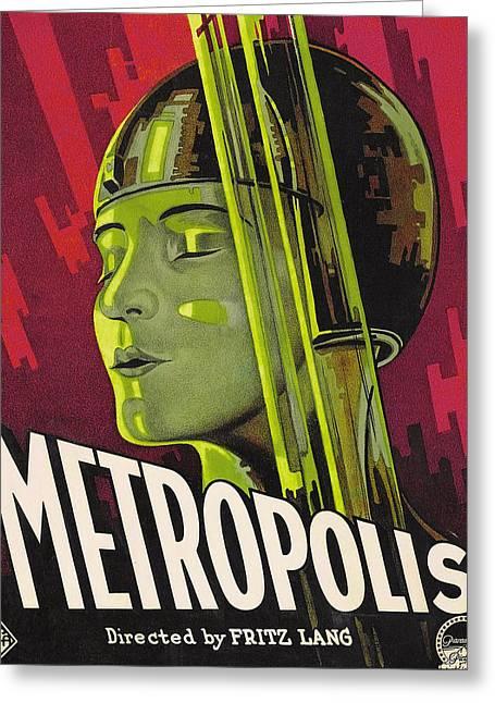 Fritz Greeting Cards - Metropolis Film Poster Greeting Card by German School