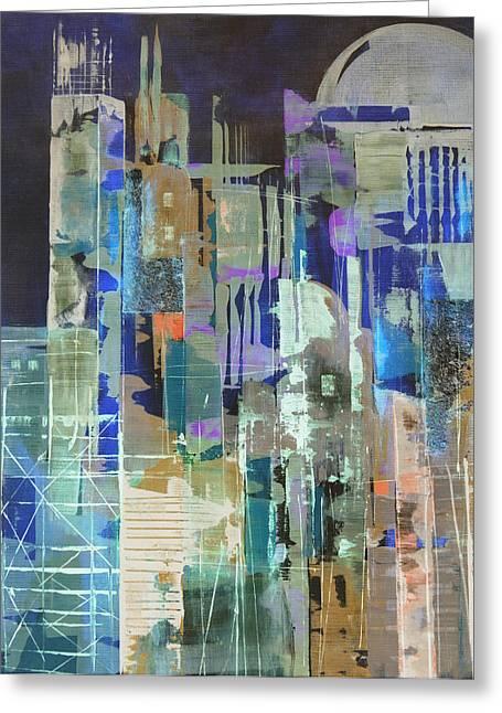 Urban Images Paintings Greeting Cards - Metropolis Greeting Card by Katie Black